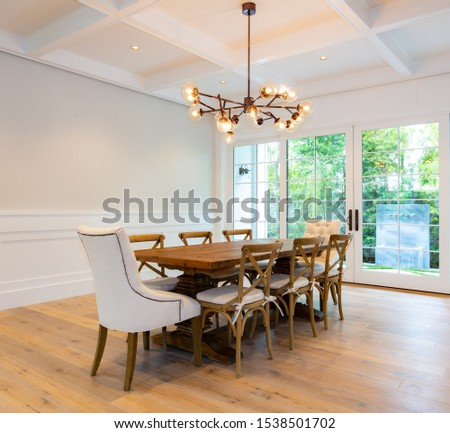 Household furniture and fixtures with chairs, tables, couches and chandeliers. #1538501702