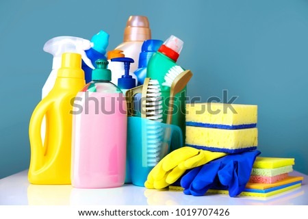 Household items,domestic cleaning sanitary supplies. stock photo