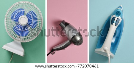 Household items for comfort and going with themselves: fan, iron, hairdryer on a pastel background. Technological products for housewife. Top view. Flat lay. #772070461