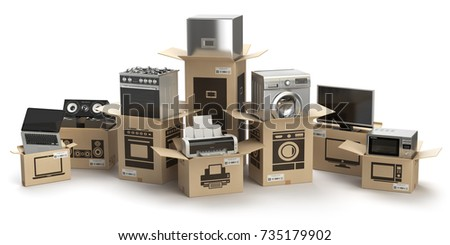 Household kitchen appliances and home electronics in boxes isolated on white. E-commerce, internet online shopping and delivery concept. 3d illustration.