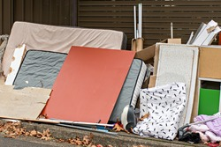 Household miscellaneous rubbish items put on curbside for council waste collection