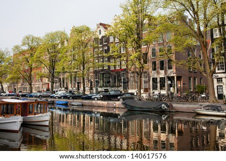 Houses along the Singel canal in the city of Amsterdam, Holland.