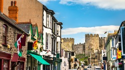Houses and castle in Conwy - Wales, UK