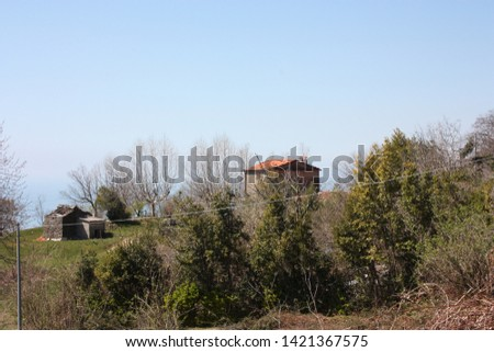 houses and structures built and then left abandoned in the isolation of nature high up in the hills in Tuscany #1421367575