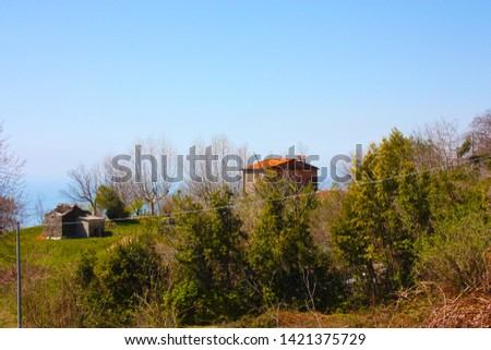houses and structures built and then left abandoned in the isolation of nature high up in the hills in Tuscany #1421375729