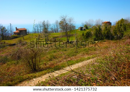 houses and structures built and then left abandoned in the isolation of nature high up in the hills in Tuscany #1421375732