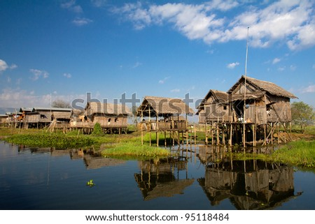 Houses at Inle lake, Myanmar