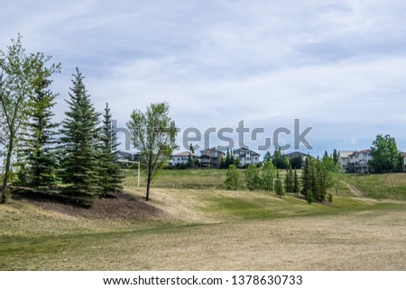 Houses backing onto a large grass field with soccer nets. Sunny summer day with cloudy blue skies.