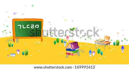 Houses, books, trees, ladders and rainbows sit under a chalk board and student desk outdoors.