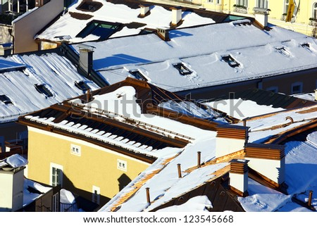 Houses covered with snow at Salzburg, Austria