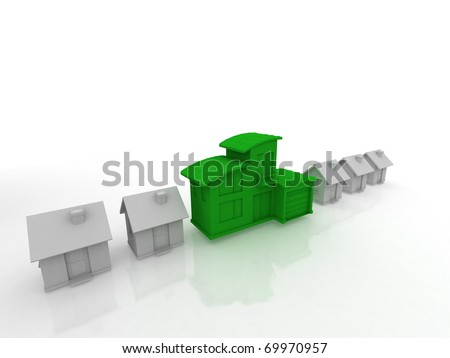 houses 3d render isolated on white