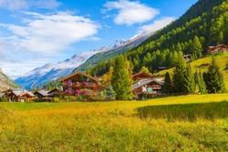 Houses decorated with flowers in Zermatt, alpine village, Switzerland, Swiss Alps