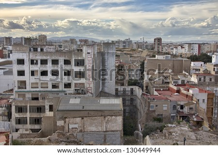 houses destroyed in the city of Cartagena in Murcia, Spain
