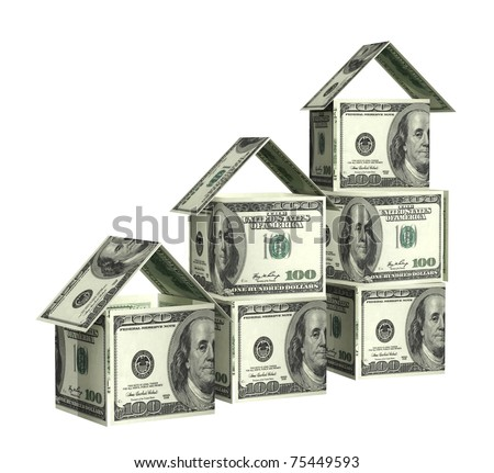 Houses from dollars banknotes. Isolated over white