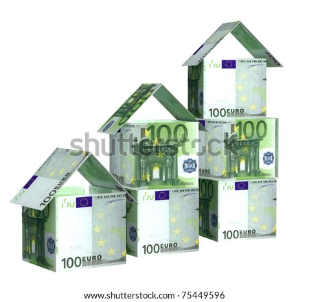 Houses from euro banknotes. Isolated over white
