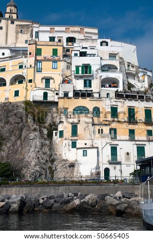 Houses in Amalfi coast in the Tyrrhenian Sea in Italy