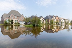 Houses in Houston suburb flooded from Hurricane Harvey 2017
