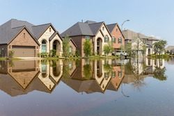 Houses in Houston suburb flooded from Hurricane Harvey 2017