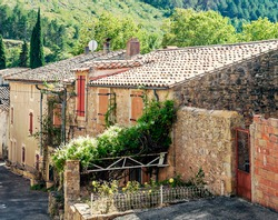 Houses in Lagrasse in the south of France. It´s a medieval village.