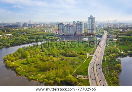 Houses in Moscow, Russia - aerial view