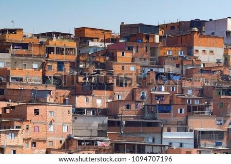 Houses in Paraisopolis, one of the slums (favela) of Sao Paulo.