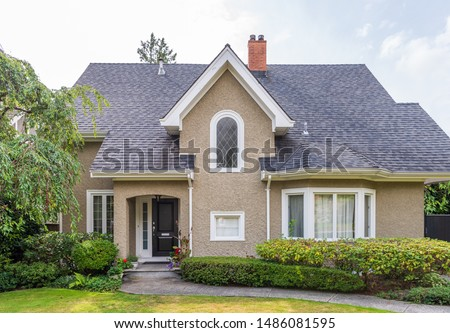 Houses in suburb at Summer in the north America. Luxury houses with nice landscape.