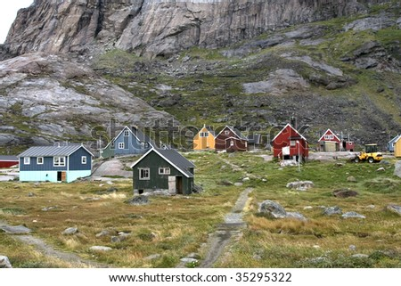 Houses in the village of Appilatoq, Greenland