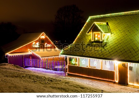 houses in winter at Christmas time, Czech Republic