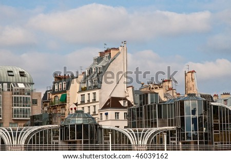 Houses near Pompidou Centre in Paris, France