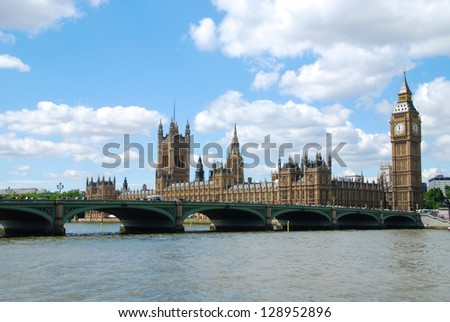 Houses of Parliament and a Westminster bridge at a sunny day