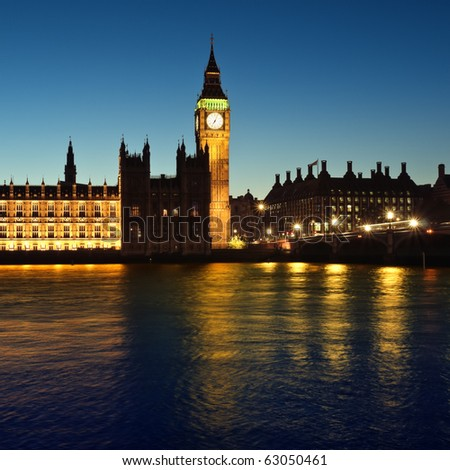 Houses of Parliament at night.