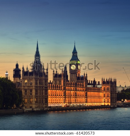 Houses of Parliament at night, London.
