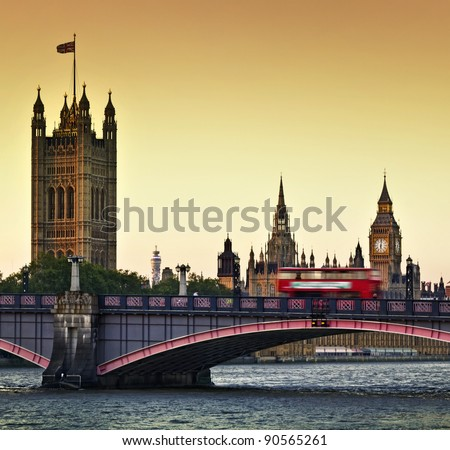 Houses of Parliament, Big Ben and Lambeth Bridge at dusk, London.