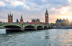 Houses of Parliament, Big Ben and Westminster bridge at sunset, London, United Kingdom