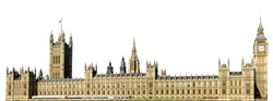 Houses of Parliament, or Westminster Palace, with Big Ben tower (London, UK) isolated on white background