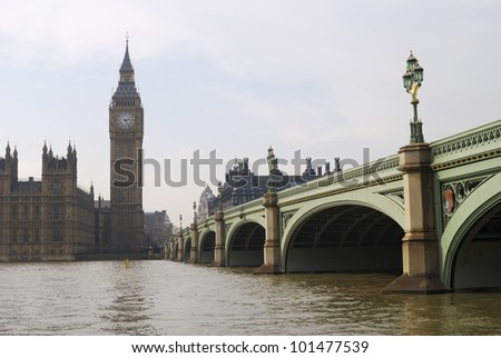 Houses of Parliament. Palace of Westminster and Westminster Bridge viewed from Albert Embankment London. England