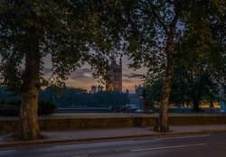 Houses of Parliament Tower At Night View From Lambeth Palace Road