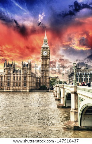 Houses of Parliament, Westminster Palace - London beautiful sunset colors.