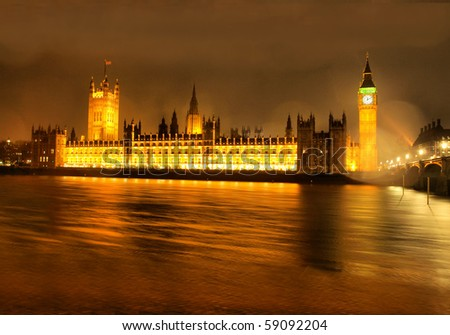 Houses of Parliament, Westminster Palace, London gothic architecture - at night - high dynamic range HDR