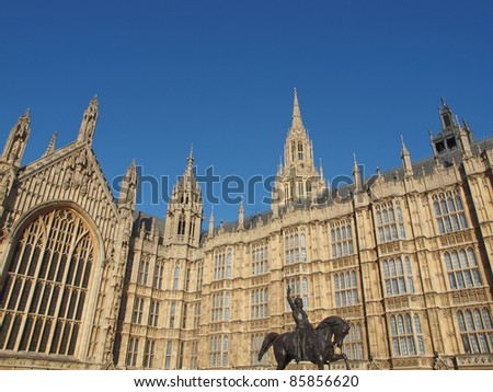 Houses of Parliament Westminster Palace with Lord Cromwell monument, London