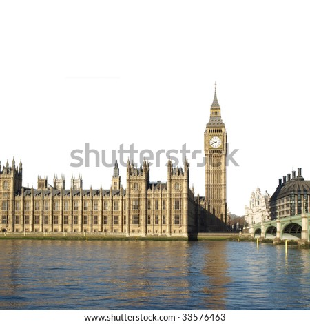 Houses of Parliament with Big Ben, Westminster Palace, London, UK - isolated over white with copy space
