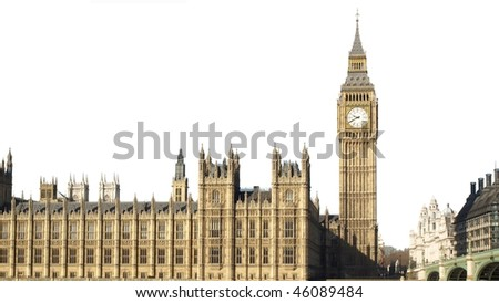 Houses of Parliament with Big Ben, Westminster Palace, London, UK - isolated over white with copy space - (16:9 ratio)