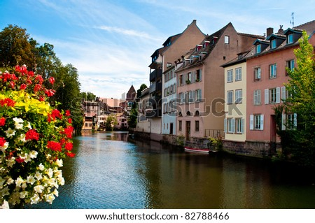 Houses of the Petit France on the canal in Strasbourg
