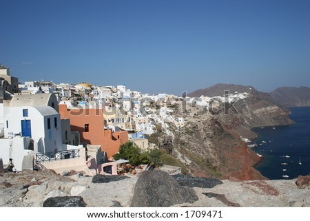 Houses on the cliff on the island of Santorini