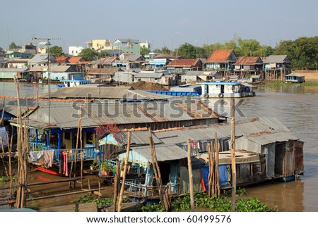 Houses on the river Mekong in Chaudok, Vietnam