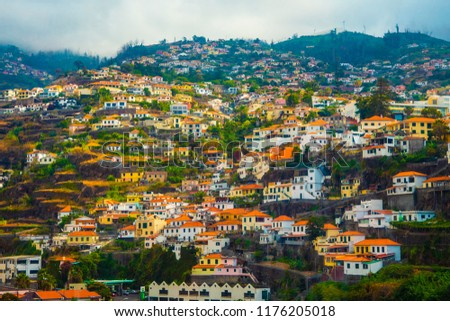 Houses with tiled roofs on the mountainside. #1176205018