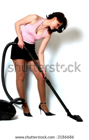housewife makes housework isolated on white