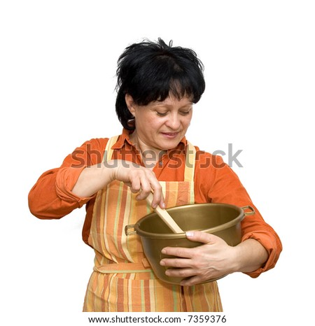 housewife making cakes studio isolated