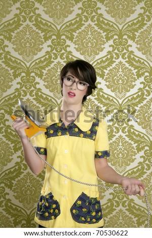 housewife nerd retro unhappy iron chores vintage wallpaper - stock photo