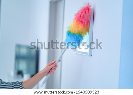 Housewife wipes dust with a dust brush at home. Household chores and housekeeping  #1540509323